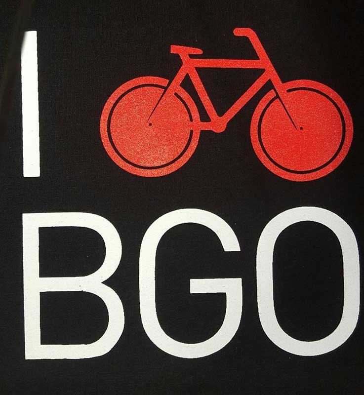 I bike bgo screen printing