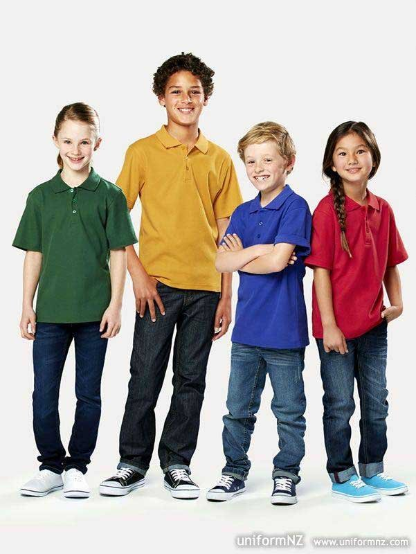 kids wearing different colored polo shirts