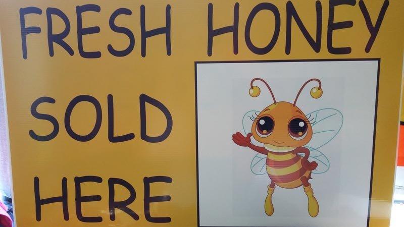 fresh honey sold here sign