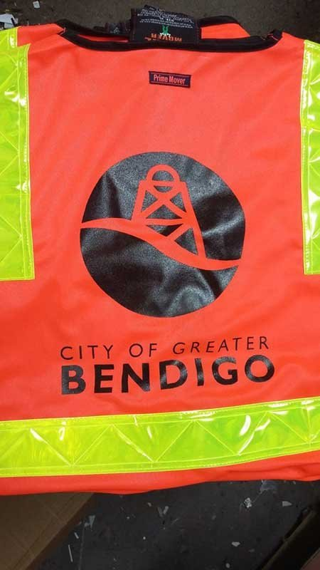 city of grater bendigo worker shirt screen printing