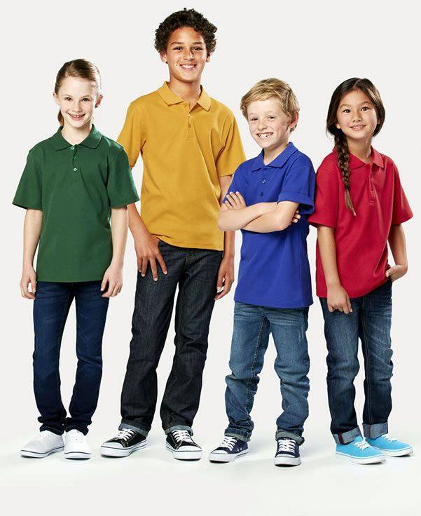 kids standing in different colored polo shirts
