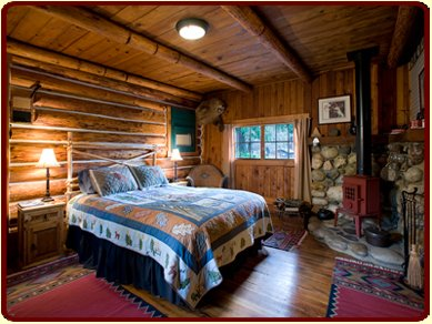 Queen Bed in Louie's Cabin