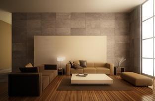 salotto in stile moderno in tinte scure