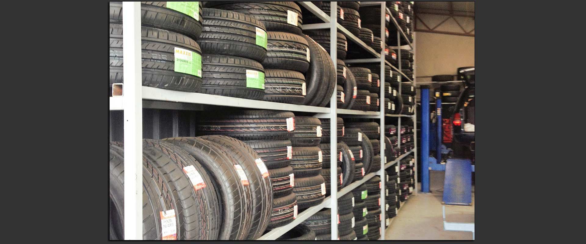 barwon tyre and auto centre new tyres arranged on tyre racks in a tyre store