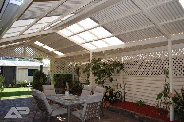 white patio with skylight