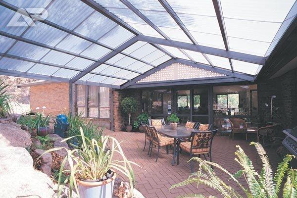 glass patio over garden