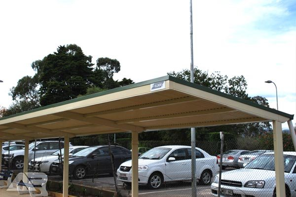white and green carport