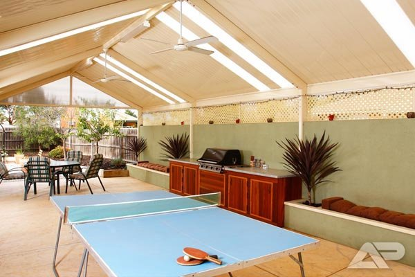 patio with table tennis