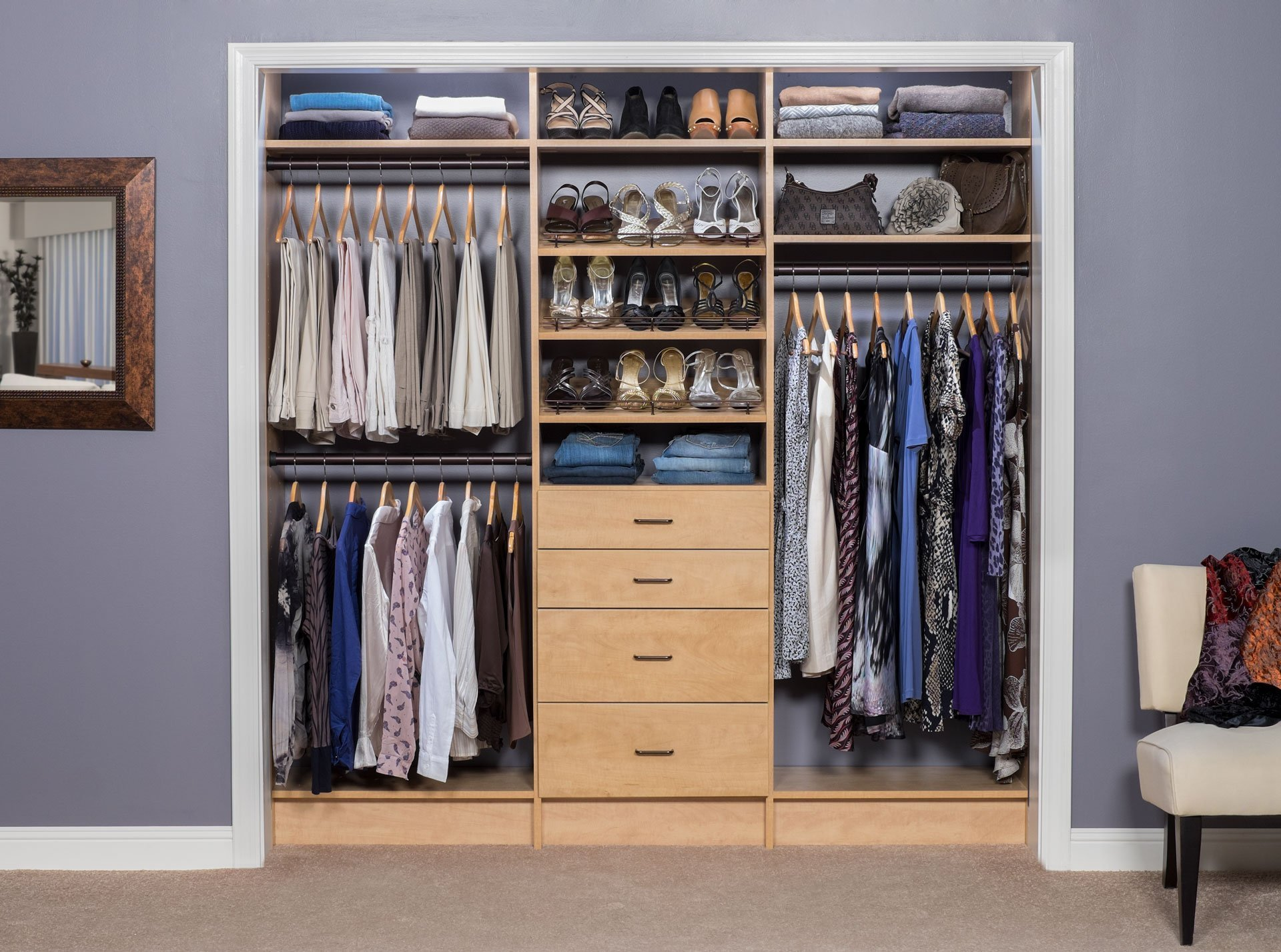 Reach In Custom Closet System With A Secret Finish