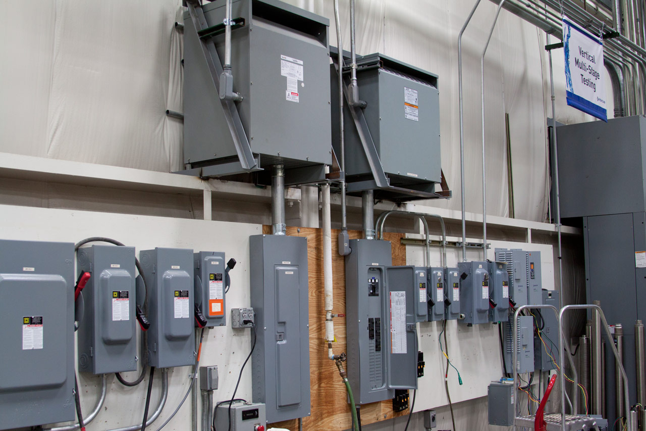 several breaker boxes in a commercial building