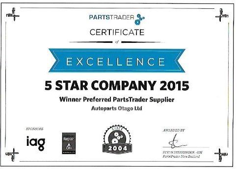 5 Star company 2015 certificate