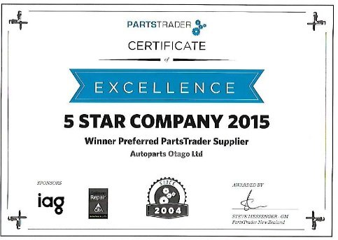 5 Star company 2015 certificate