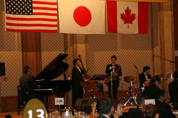 Band on stage at Champagne Ball