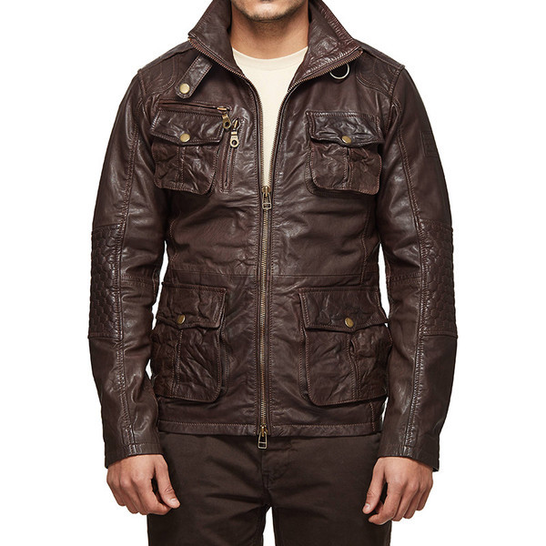 oyal Enfield Stormrider Classic Field Leather Jacket Brown