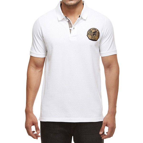 Royal Enfield Gun Polo Shirt With Vintage Logo White