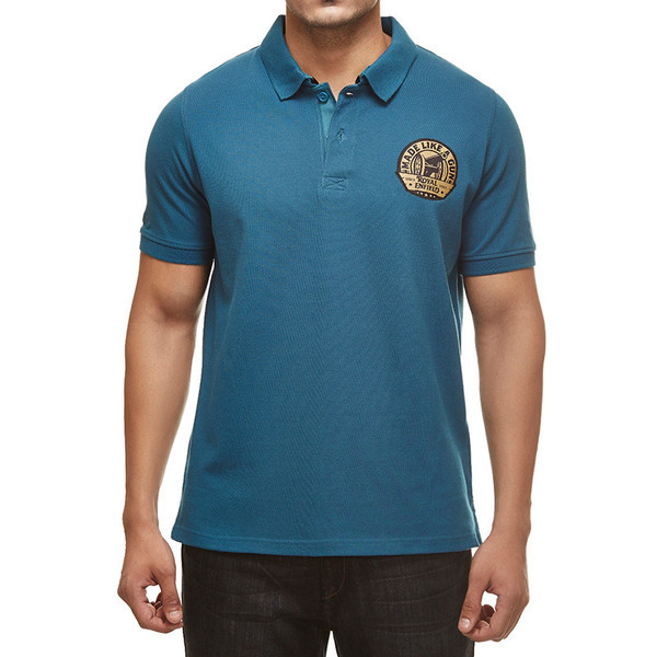 Royal Enfield Gun Polo Shirt With Vintage Logo Blue