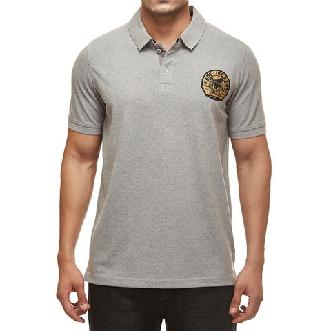 Royal Enfield Gun Polo Shirt With Vintage Logo Grey