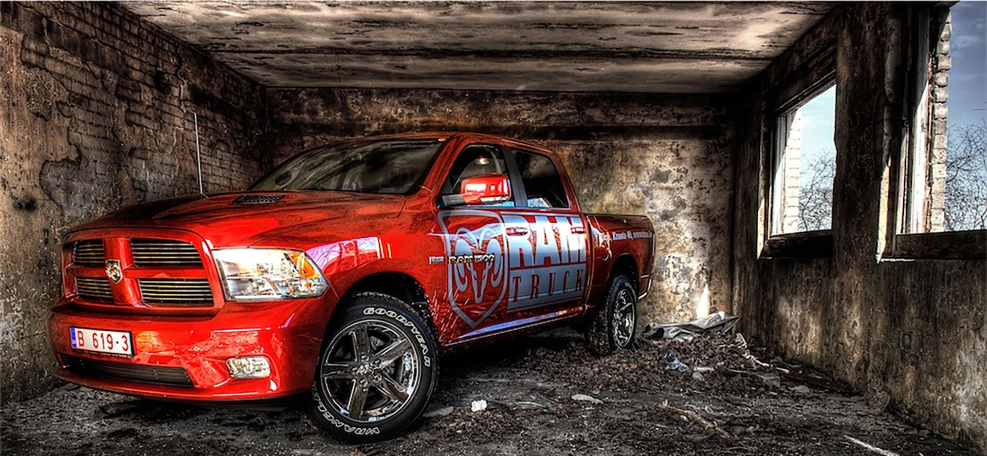red sports truck