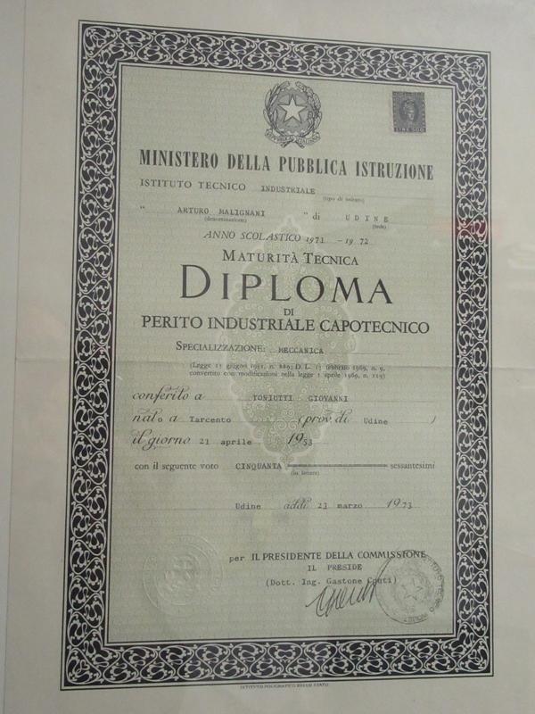 Diploma di perito industriale capotecnico