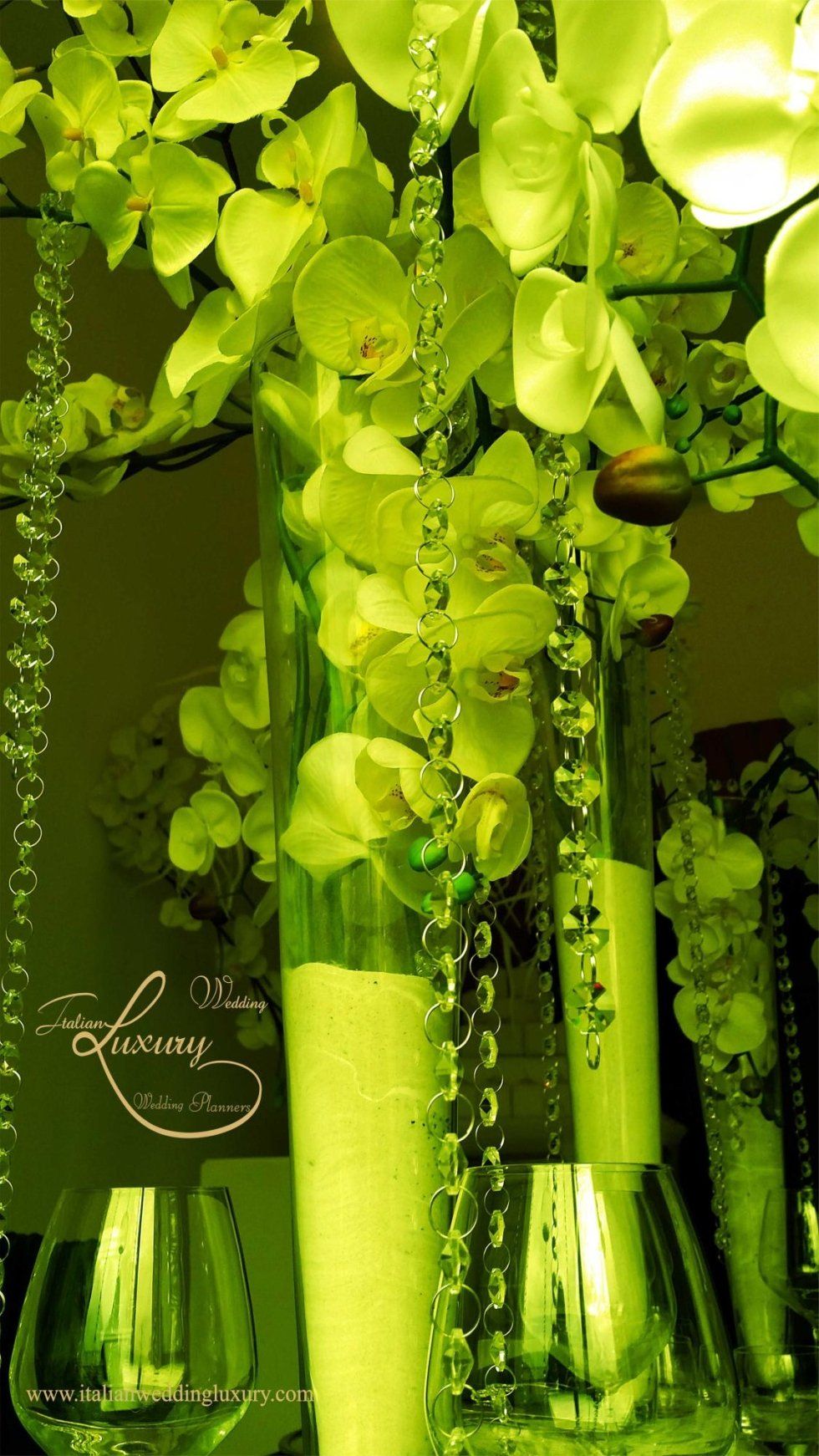 wedding green orchid centerpieces