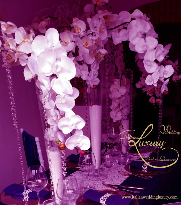 wedding orchid fucsia centerpieces
