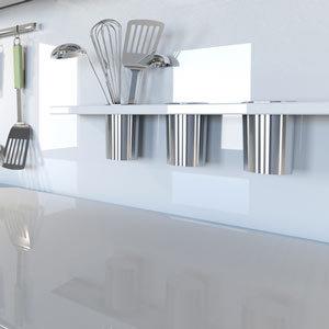 white kitchen bench top