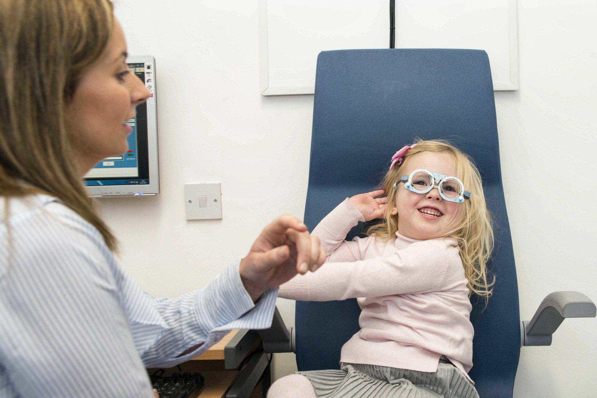 Girl getting eyesight test
