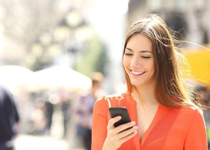 girl using phone