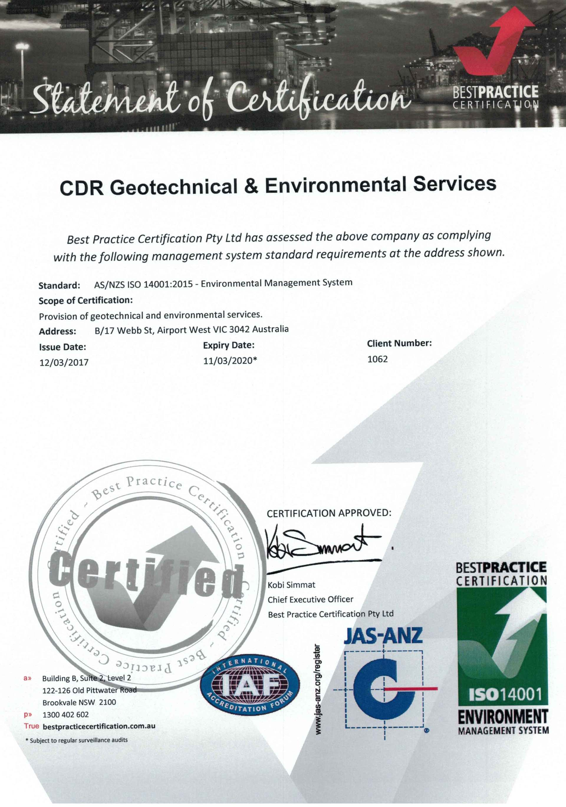 Cdr Geotechnical Environmental Services Accreditation