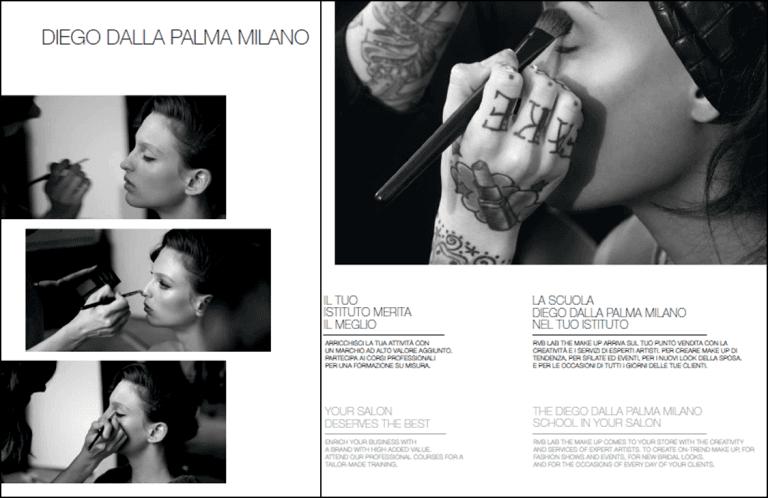 una brochure riguardante il trucco con scritto Diego Della Palma Milano