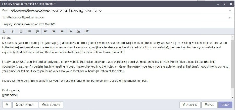 Recommended email enquiry