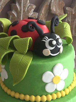 una torta di color verde con una forma di coccinella sopra