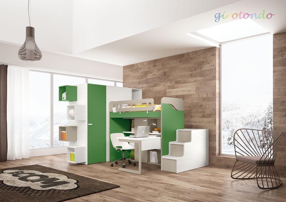 camera da letto per bambini con arredamento moderno e parquet in legno chiaro
