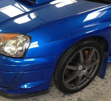 blue car with black wheels