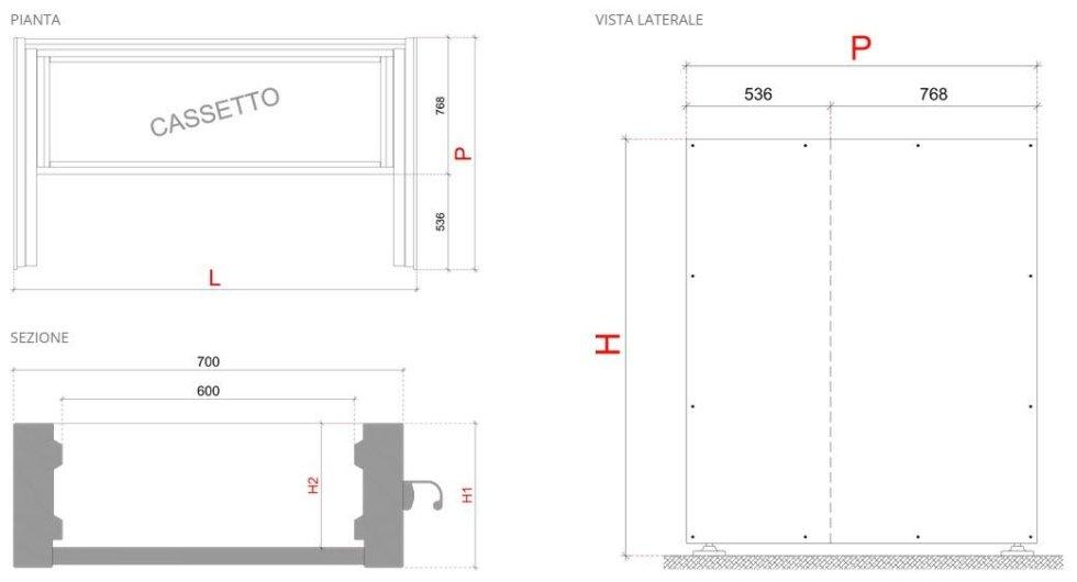 Dati tecnici - cassettiera Spazio Sabatino