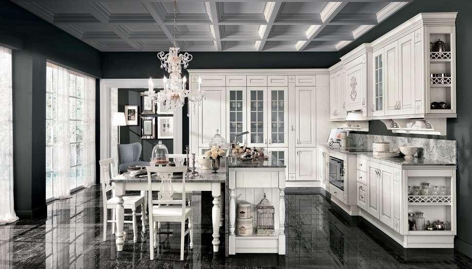cucina classica in tonalità bianca