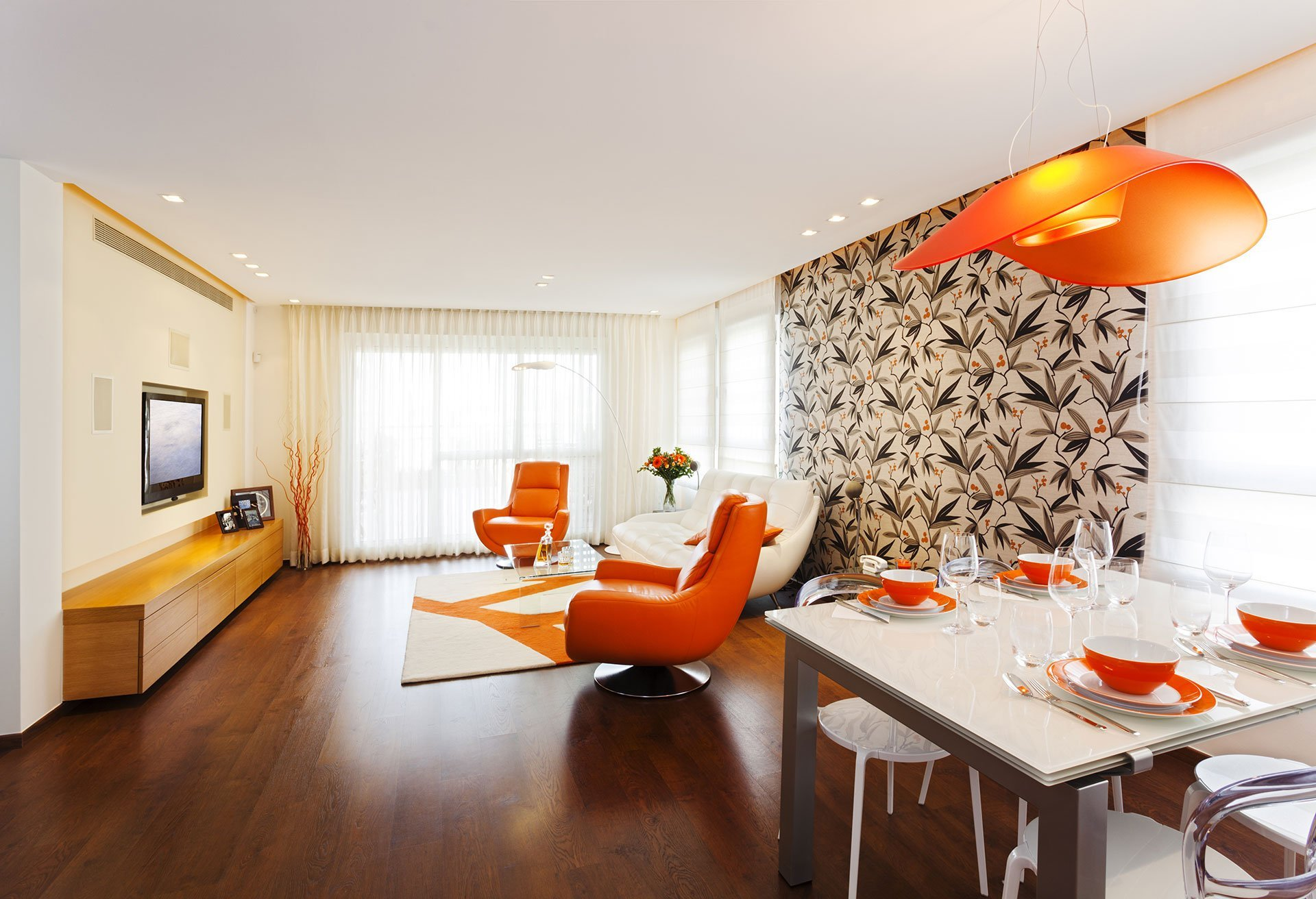 orange and white themed living room
