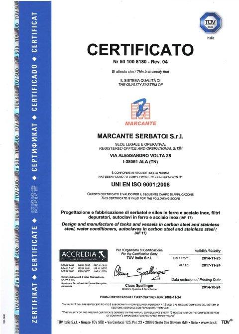 Certificazione Serbatoi