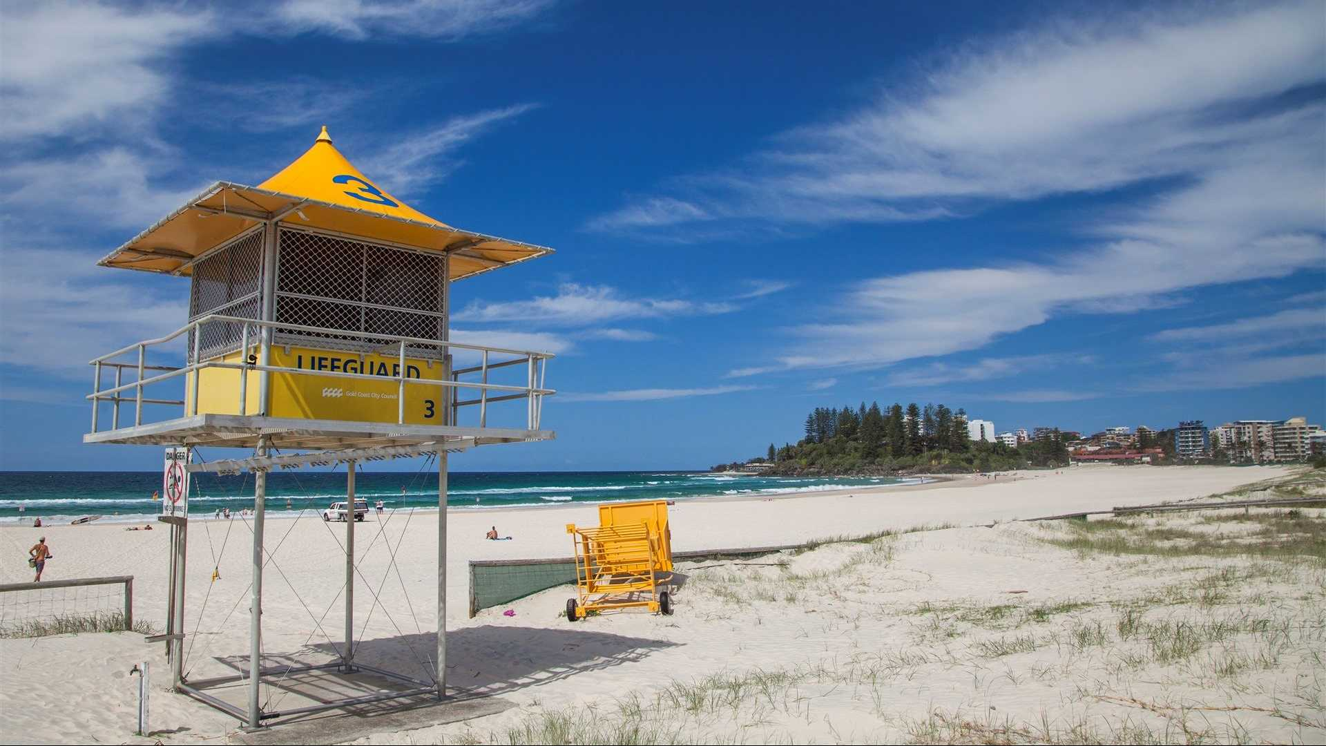 View of a lifeguard watch tower on the beach