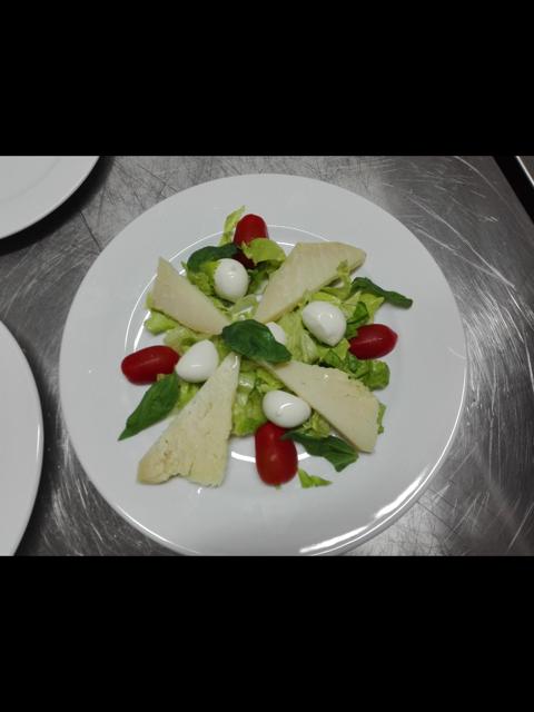 piatto con vedure formaggi e pomodori