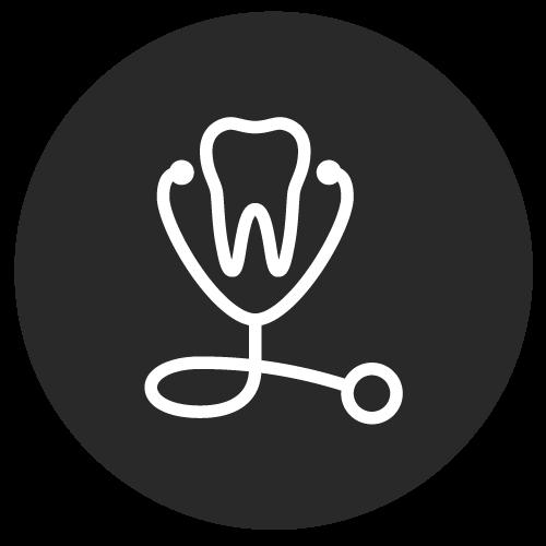 Icona di un dente con uno stetoscopio