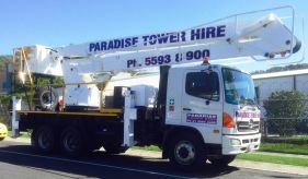 White 23 meters cherry picker hire service in Gold Coast and Brisbane including Ballina and more