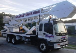 available 23-meter long white cherry picker for hire service in Gold Coast and Ballina