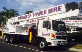 40-meter long white cherry picker hire in servicing Gold Coast, Ballina, Lismore and other areas