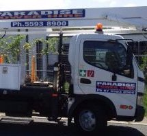 Close view of white cherry picker truck ready to hire anytime in Gold Coast and Brisbane areas