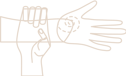 line art of hand holding an arm