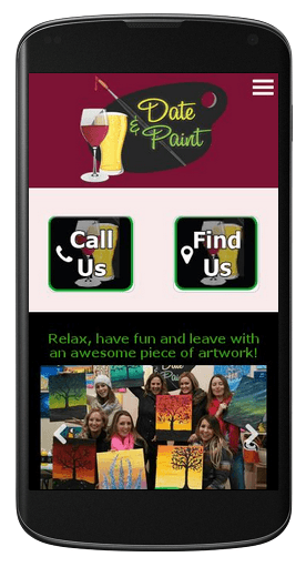 Date and Paint website example viewed on a smartphone.