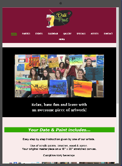 Date and Paint website example viewed on a tablet