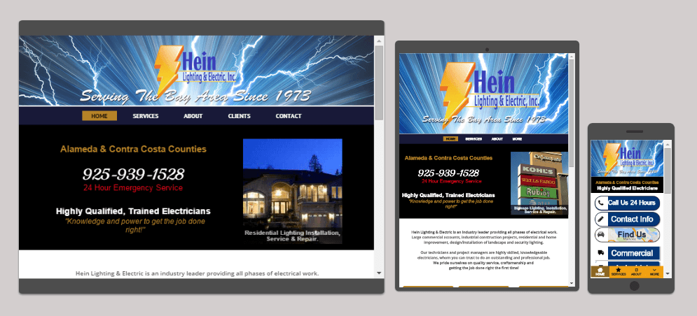 Hein Lighting & Electric Website images