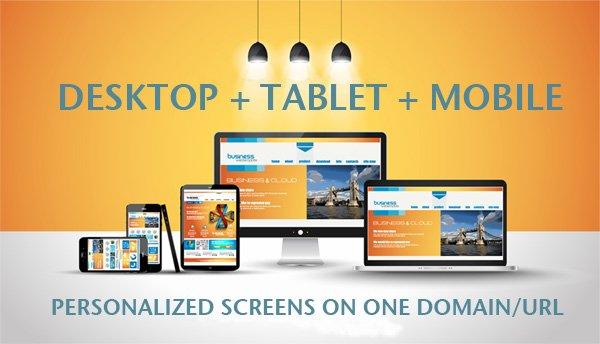 Desktop, Tablet, Mobile Responsive Websites.  Personalized screens on one domain - URL